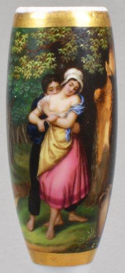 Annäherung im Wald, Porzellanmalerei, Pfeifenkopf, D0923