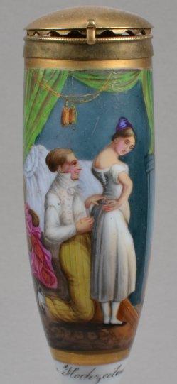 Louis-Frédéric Corréard (1815 – 1858), Die Hochzeitsnacht, Porzellanmalerei, Pfeifenkopf, D0937