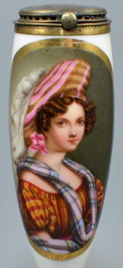 Karierte Mode, Porzellanmalerei, Pfeifenkopf, D1031