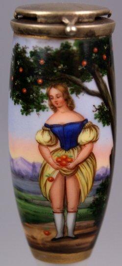 Die Apfelpflückerin, Erotik, Porzellanmalerei, Pfeifenkopf, D1099