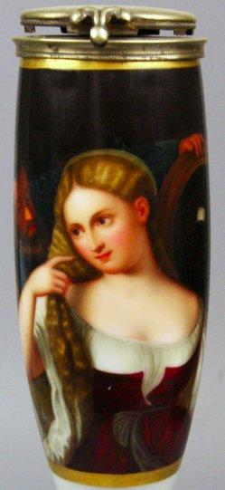 Tizian (um 1477-1576), Junge Frau bei der Toilette. Porzellanmalerei, Pfeifenkopf, D1267