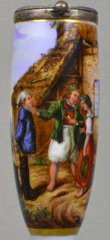 Rudolf Jordan (1810-1887), Heiratsantrag auf Helgoland, Porzellanmalerei, Pfeifenkopf, D1298