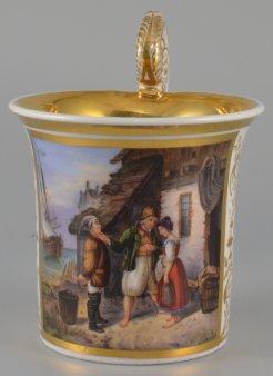 Rudolf Jordan (1810-1887), Heiratsantrag auf Helgoland, Porzellanmalerei, Tasse, D1628