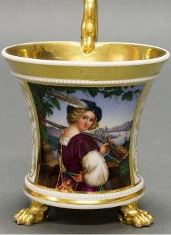 Heinrich Ludwig Wittich (1816 – 1887) Der Edelknabe, Porzellanmalerei, Perlfriestasse, A0006