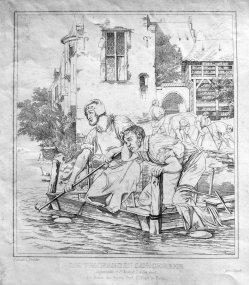 Johann Heinrich Funcke, Kupferstich 1832, Trauernde Lohgerber nach A. Schrödter, D0977