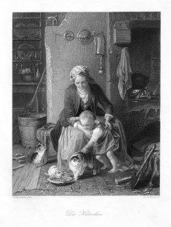 Albert Henry Payne (1812-1902), Die Kätzchen, Stahlstich nach E.Meyerheim, D1182