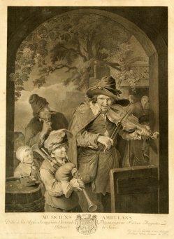 Johann Georg Wille (1715 – 1808), Die Wandermusikanten, nach Dietricy, Kupferstich 1764, D1185