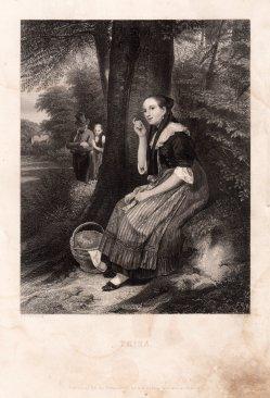 Albert Henry Payne (1812-1902), Die Lauscherin, Stahlstich nach Meyerheim, D1231-1