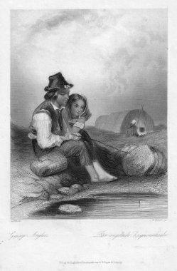 William French (1815-1898), Der angelnde Zigeunerknabe, Stahlstich nach L. Hicks, D1241