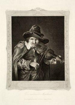"""Albert Henry Payne (1812-1902) """"Der wandernde Musikant"""", Stahlstich nach Dietricy, D1246"""
