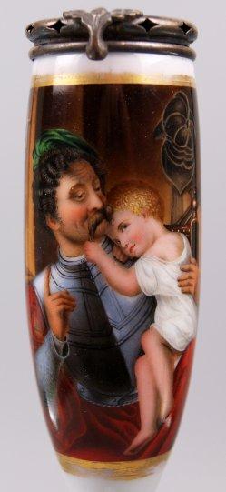 Ferdinand Theodor Hildebrandt (1804-1874), Der Krieger und sein Kind, Porzellanmalerei, Pfeifenkopf, D1428