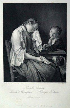 """Albert Henry Payne (1812-1902), Stahlstich, """"Traurige Nachricht"""" nach A. Rotari, D1625"""