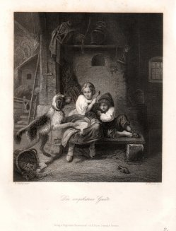 """William French (1815-1898), Stahlstich """"Der ungebetene Gast"""" nach Vautier, D17431743"""