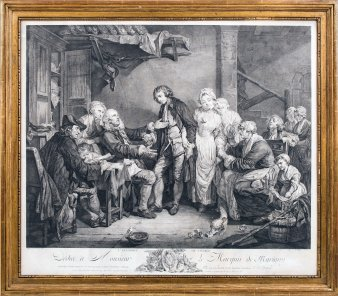 """Jean Jacques Flipart (1719-1782) Kupferstich """"L Accordée de Village"""", nach Greuze, D1781"""