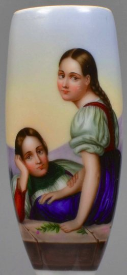 Beobachtende Geschwister, Porzellanmalerei, Pfeifenkopf, D2038