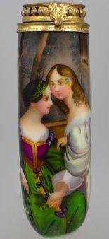 Fanny Corbaux (1812-1883), Neugierde, Porzellanmalerei, Pfeifenkopf,  D0928