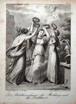 Franz Xaver Stöber (1795-1858), Die Bildhauerkunst, die Mahlerey und die Dichtkunst, Stahlstich nach V.Schnorr von Carolsfeld, D1632