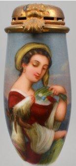 Ziegenfütterung, Porzellanmalerei, Pfeifenkopf, D1044