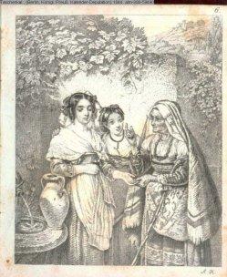 Auguste Hüssener (1789-1877), Kupferstich, Die Wahrsagerin, nach Cretius, A0073