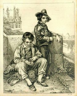 Auguste Hüssener (1789-1877), Kupferstich, Bettelknaben, A0088