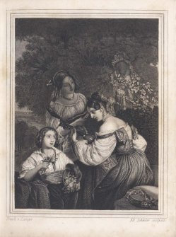 Eduard Schuler (1806-1882), Stahlstich, Harfespiel mit Freundinnen, A0069