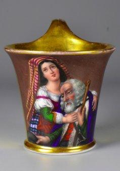 Tochter mit sterbendem Vater, Porzellanmalerei, Tasse, D1909