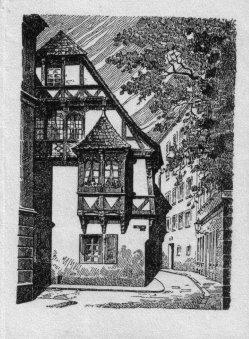 Willy Knabe (1896-1967), Federzeichnung, Fachwerkhaus in der Kreuzgangstrasse, (Magdeburg)