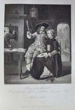 Albert Henry Payne (1812-1902), Stahlstich, Metzu und seine Frau, nach Metsu, D1611-68
