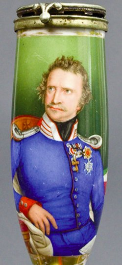 Carl Wollenweber (geb 1793), Ludwig I von Bayern, Porzellanmalerei, Pfeifenkopf, B0004