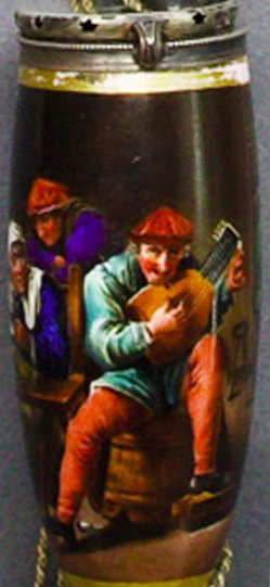 David Teniers (1610-1690), Wirtshausszene, Porzellanmalerei, Pfeifenkopf, B0100