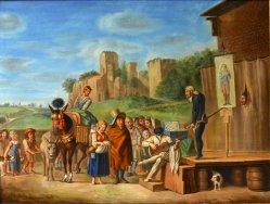 Karel Dujardin (1622-1678) nach, Der Quacksalber, Gemälde um 1800, D2055