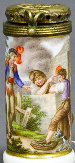 Johann Heinrich Ramberg (1763-1840), Der Gang nach dem Eisenhammer, Porzellanmalerei, Pfeifenkop