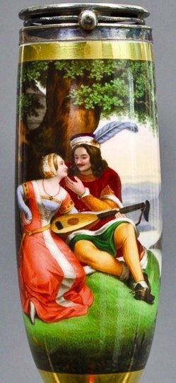 Philipp Voltz (1805 - 1877), Ritter und Braut, Porzellanmalerei, Pfeifenkopf, B0129