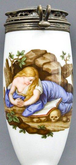 Pompeo Batoni (1708-1787), Büßende Magdalena, Porzellanmalerei, Pfeifenkopf, B0096