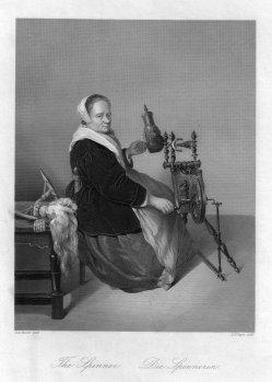 Albert Henry Payne (1812-1902), Die Spinnerin, nach Netscher, Stahlstich, D1611-306