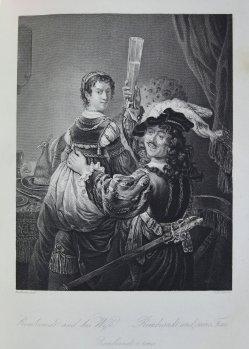 Albert Henry Payne (1812-1902), Rembrandt und seine Frau, Stahlstich, nach Rembrandt, D1611-214