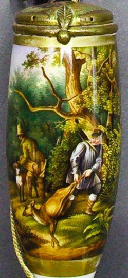 Carl Friedrich Schulz (1796-1866), Wilddiebe, Porzellanmalerei, Pfeifenkopf, B0192