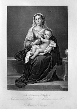D.J.Pound, Madonna und Kind, nach Murillo, Stahlstich, D1611-48