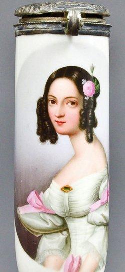 Dominik Haitz (1810-1847), Konstance Dahn, Porzellanmalerei, Pfeifenkopf, B0154