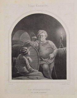 Gsels, Rheinweinprobe, Lithographie nach A. Schroedter, A0093