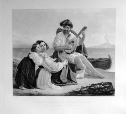 Gustav Lüderitz (1803-1884), Neapolitanische Fischerfamilie, nach Riedel, Kupferstich, A0096