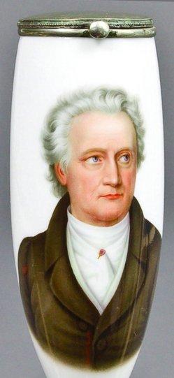 Joseph Stieler (1781-1858), Johann Wolfgang von Goethe, Porzellanmalerei, Pfeifenkopf, B0161
