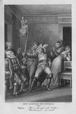 Friedrich Wilhelm Jury (1763-1829), Der Barbier von Sevilla, nach Ramberg, Kupferstich, A0099