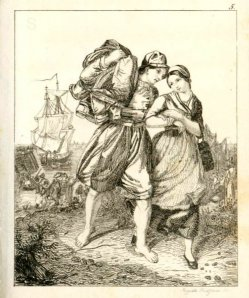 Auguste Hüssener (1789-1877), Rückkehr des Fischers. Kupferstich, nach R. Jordan, A0105