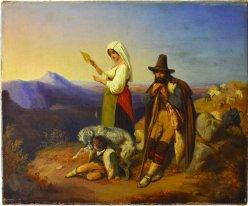 Carl Constantin Heinrich Steffeck (1818-1890), Gemälde, Italienische Hirtenfamilie, D2085