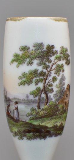 Flußlandschaft mit Angler, Porzellanmalerei, Pfeifenkopf, D2073-0