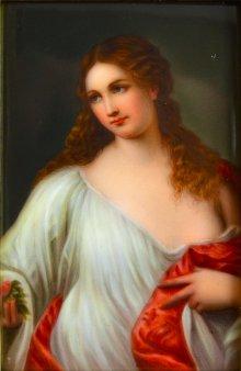 Frau mit Umhang, Porzellanmalerei, Bildplatte, D1758