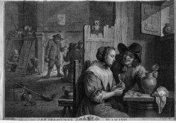 Jacques Nicolas Tardieu (1716-1791), Le des Jeuner Flamand, Kupferstich nach D. Teniers II, D2086