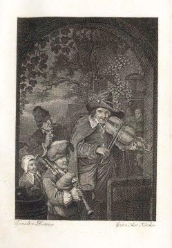 Anton Karcher (1760-1842), Die Wandermusikanten, nach Dietricy, Kupferstich, A0107
