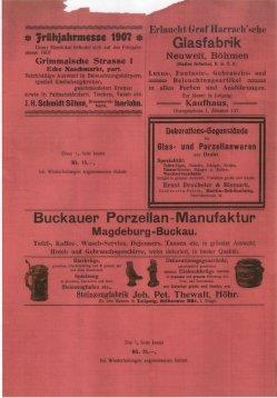 Buckauer Porzellanmanufaktur, 1907, Werbeanzeige, Die Porzellan und Glashandlung